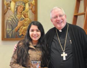 Maria Laura Mendoza Weber met with Bishop William Patrick Callahan at the end of her six-month student program from Santa Cruz, Bolivia. Weber said she learned a lot about the history and connection between her home parish and the Diocese of La Crosse, while also improving her English. She was thrilled to meet Bishop Callahan and said he was very funny and helpful and she cannot wait to introduce him to her family when he comes to visit Bolivia. The Flees family hosted her stay while in Marshfield, Wis., and will host Weber's sister when she comes in the fall.