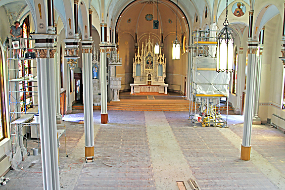 Saints Peter and Paul Church stands stripped of pews and furnishings as the renovation of the nave and altar begin.