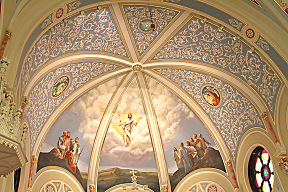 The Ascension of the Lord adorns the renovated ceiling above the altar and coveys a sense of holiness to those enter.