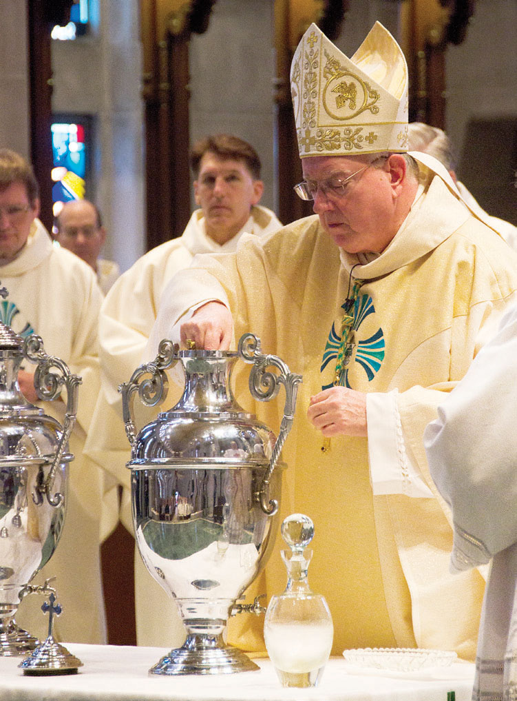 The Chrism Mass was held March 22, 2016 at the Cathedral of St. Joseph the Workman, where priests from across the Diocese joined Bishop Callahan for the blessing of holy oils they will use in their own parishes during the coming year. Chrism is a mixture of olive oil and balsam fragrant extracts that is consecrated by a bishop to be used in the administration of the sacraments of Baptism, Confirmation, and Holy Orders.