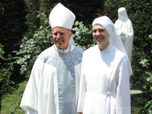 Sister Bernadette Rose with Archbishop Aquila