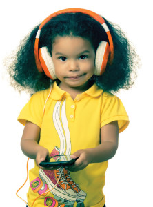 Instagma toned small afro girl listening to music with headphones