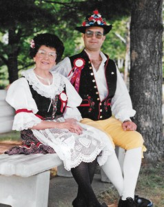 Catherine Warnecke and her son, Larry Benish, dressed in authentic Bohemian clothing for a performance of the Milladore Czech Singers and Dancers.